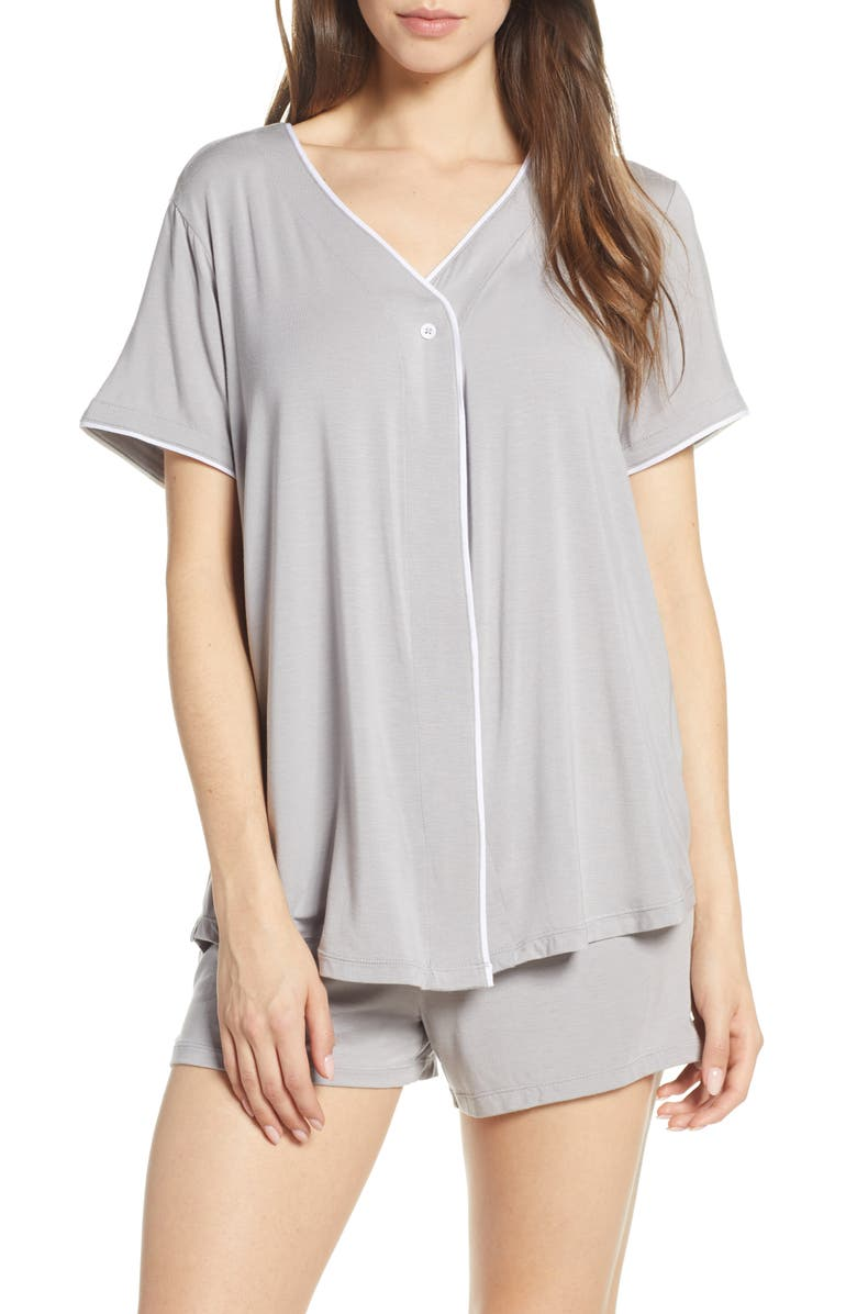 BAREFOOT DREAMS<SUP>®</SUP> Luxe Jersey Short Pajamas, Main, color, PEWTER
