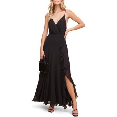 Astr The Label Floral Ruffle Detail Maxi Dress, Black