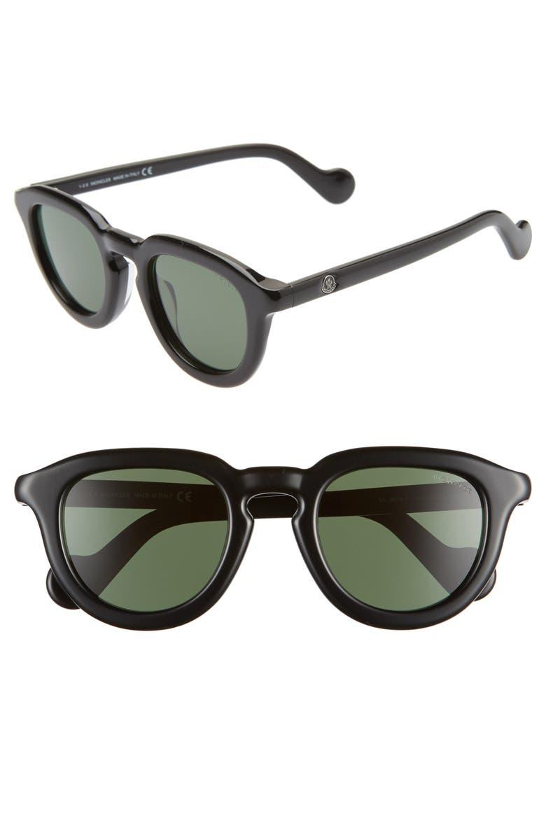 MONCLER 50mm Square Sunglasses, Main, color, SHINY BLACK/ GREEN