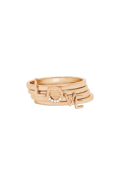 "Image of ADORNIA 14K Rose Gold Vermeil ""Love"" Stacking Rings"