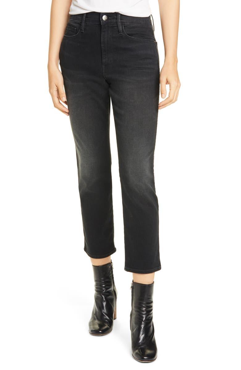 FRAME Le Pixie Sylvie High Waist Slender Straight Leg Jeans, Main, color, 001