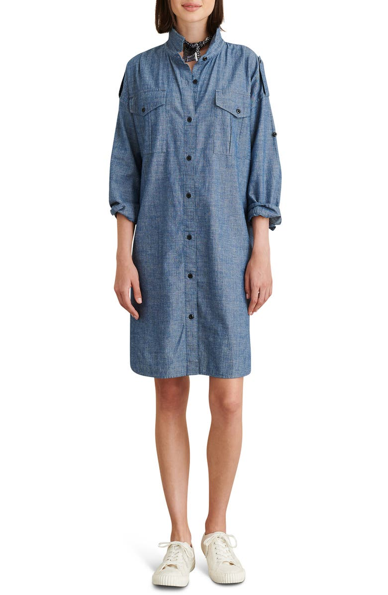 ALEX MILL Military Chambray Shirtdress, Main, color, BLUE