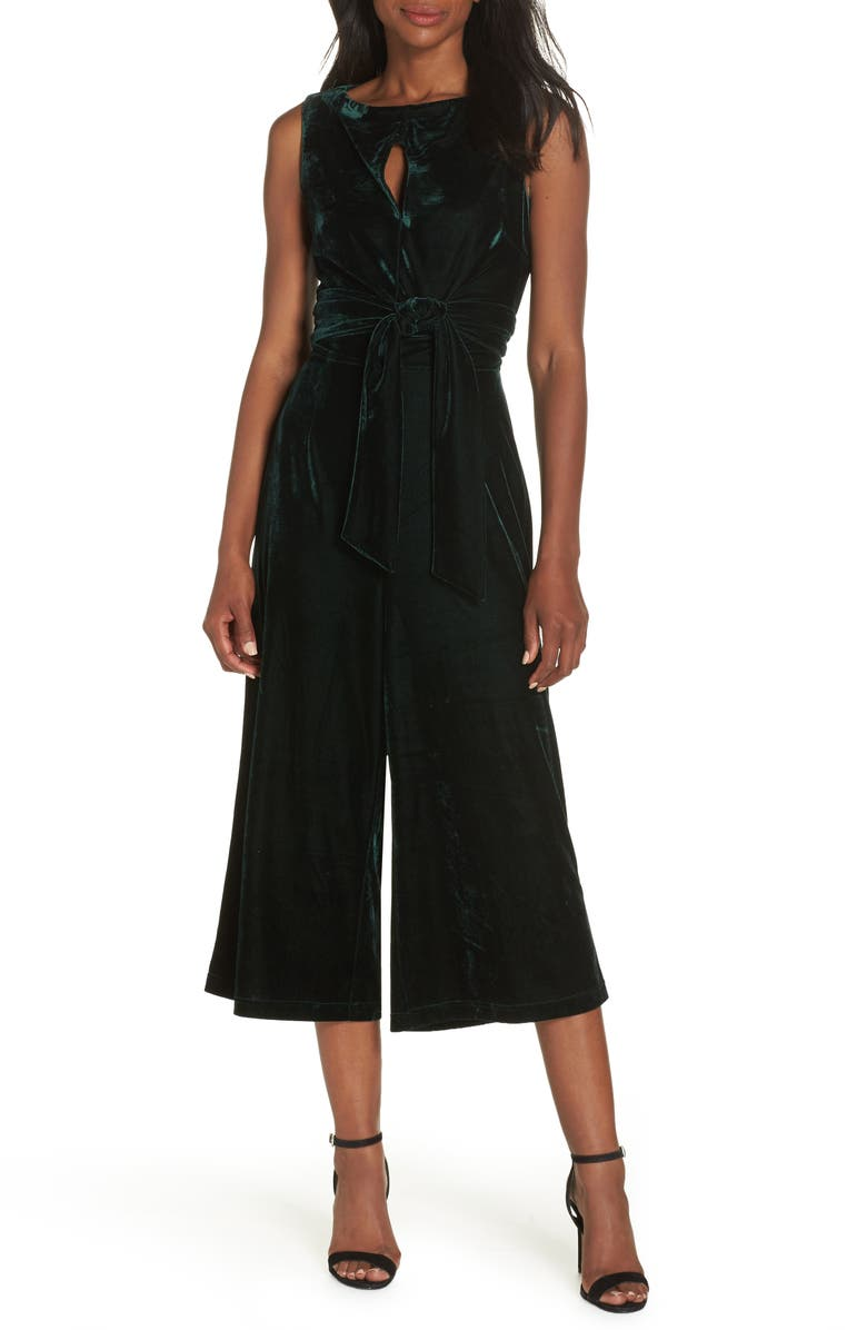 ADELYN RAE Simone Wide Leg Crop Velvet Jumpsuit, Main, color, 304