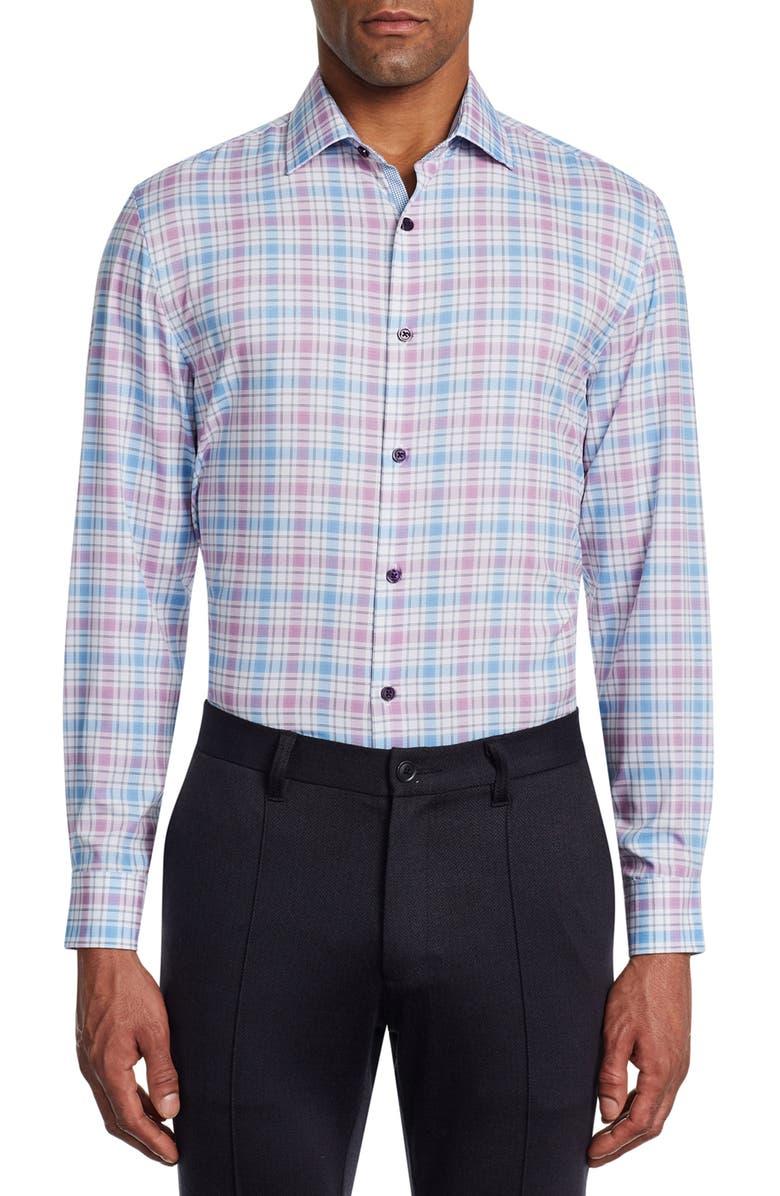W.R.K Slim Fit Plaid Performance Dress Shirt, Main, color, LILAC