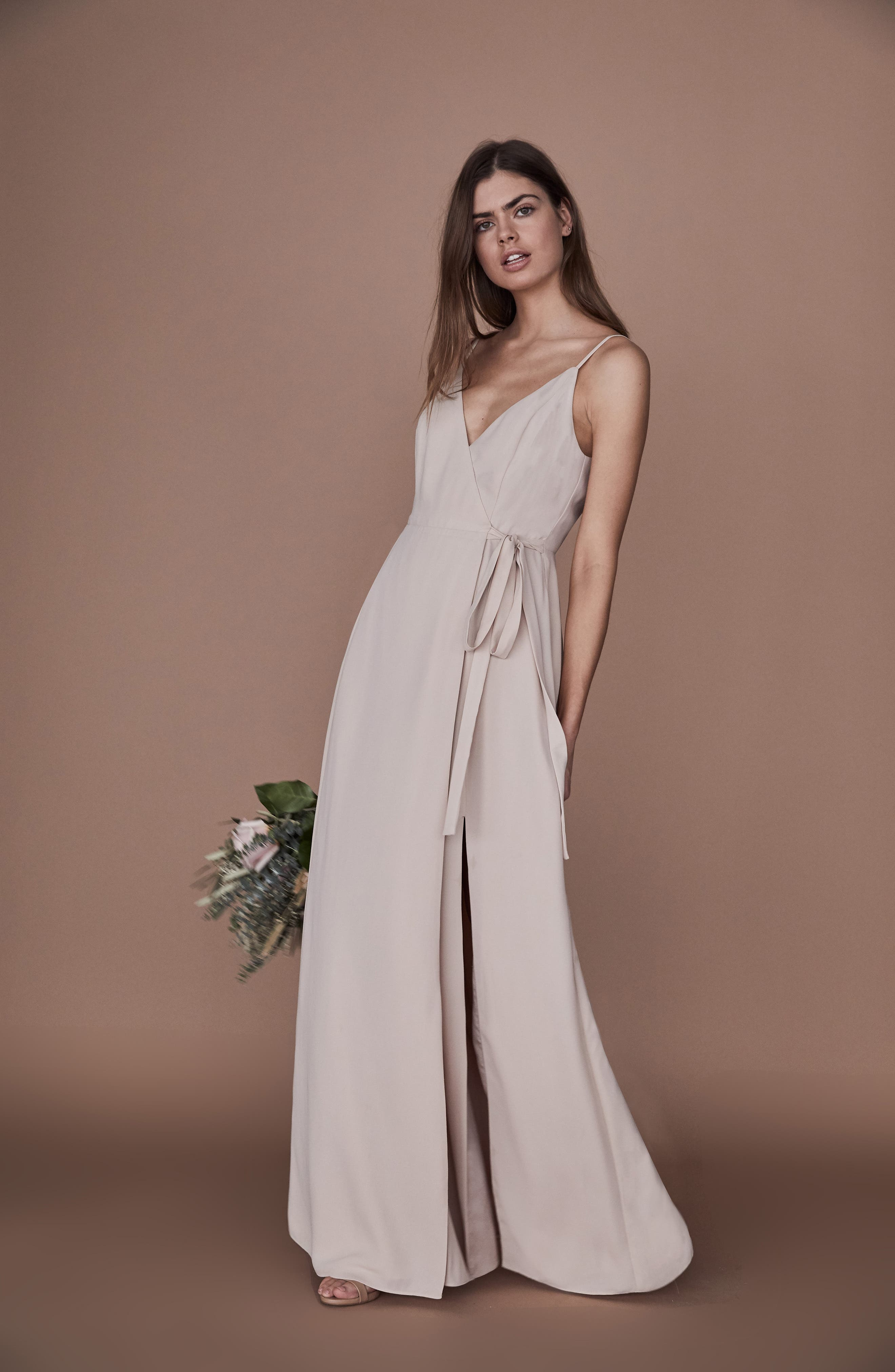 ,                             The Angelina Slit Wrap Gown,                             Alternate thumbnail 8, color,                             CHAMPAGNE