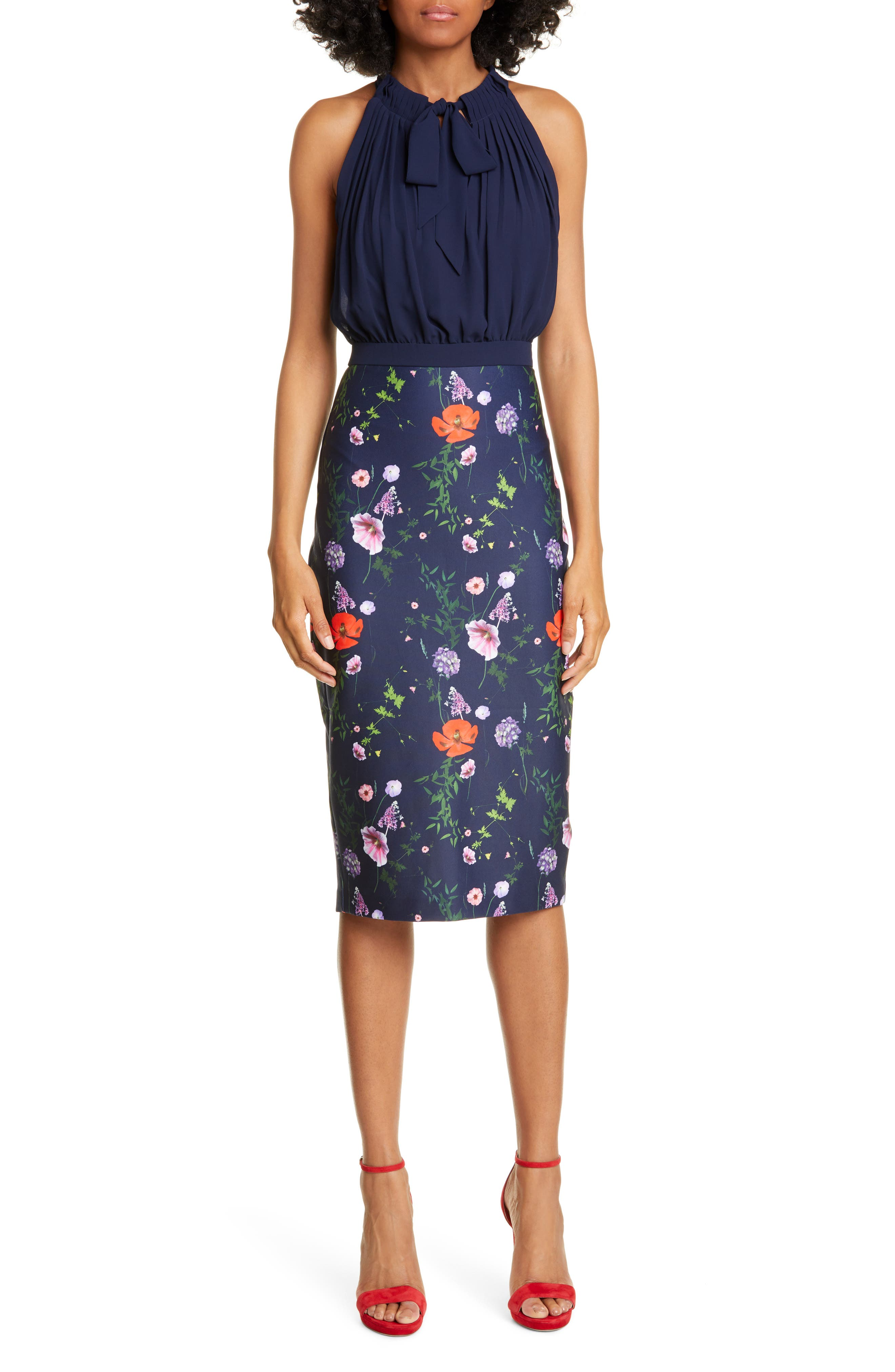 Ted Baker London Halter Pencil Dress, Blue