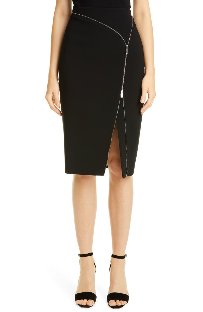 ALTUZARRA Zip Detail Crepe Pencil Skirt, Main, color, BLACK