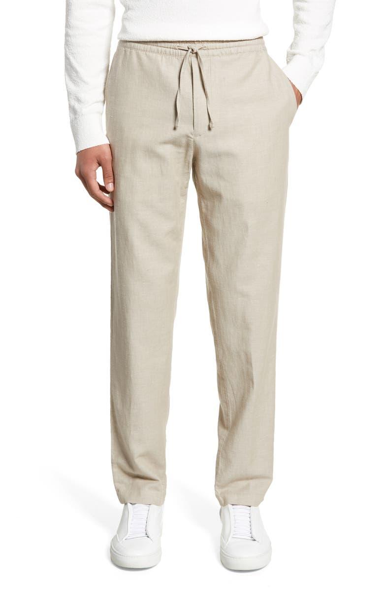 CLUB MONACO Slim Fit Beach Pants, Main, color, NATURAL