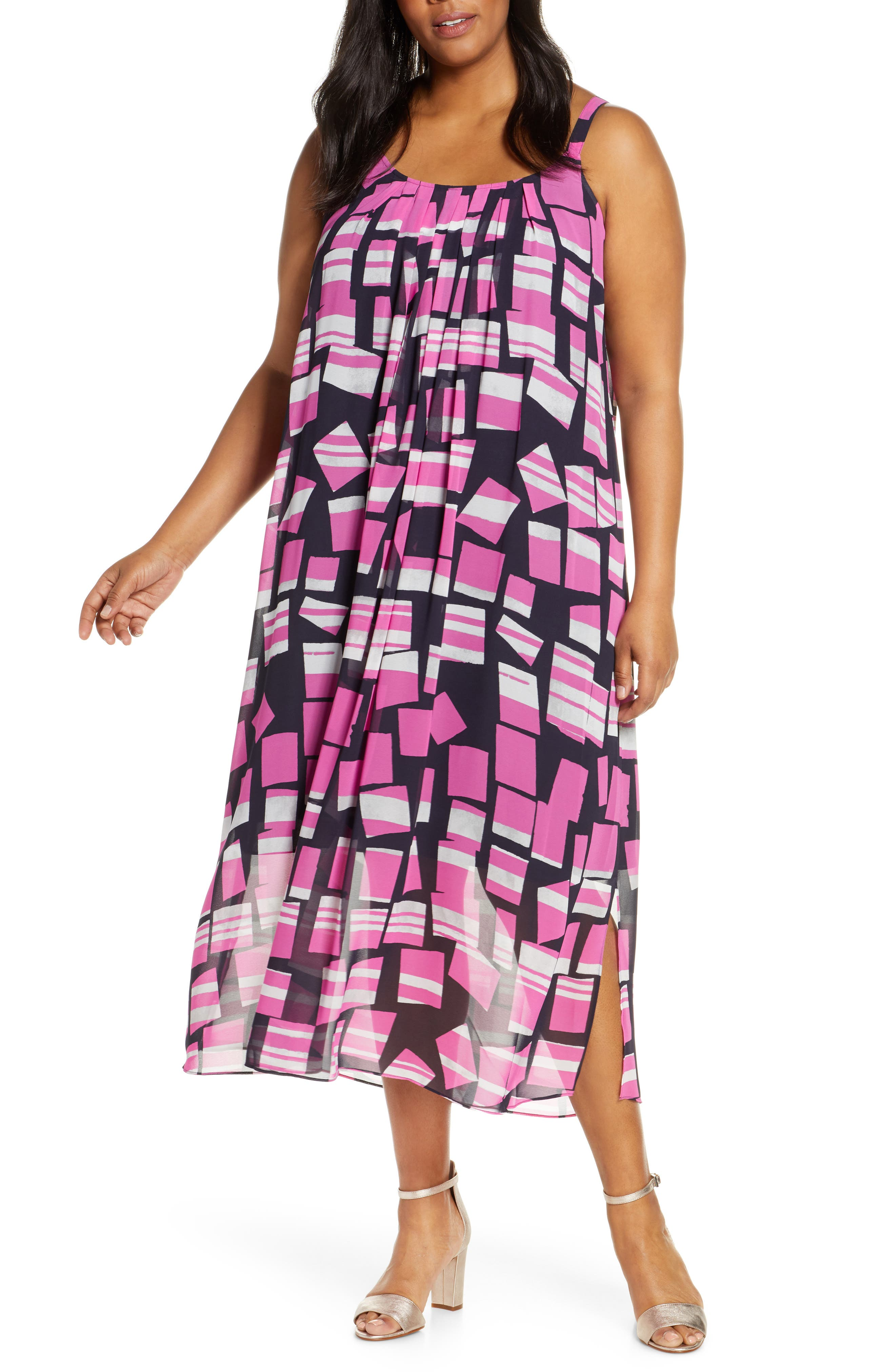Plus Size Nic+Zoe Block Party Print Pleat Shift Dress, Pink