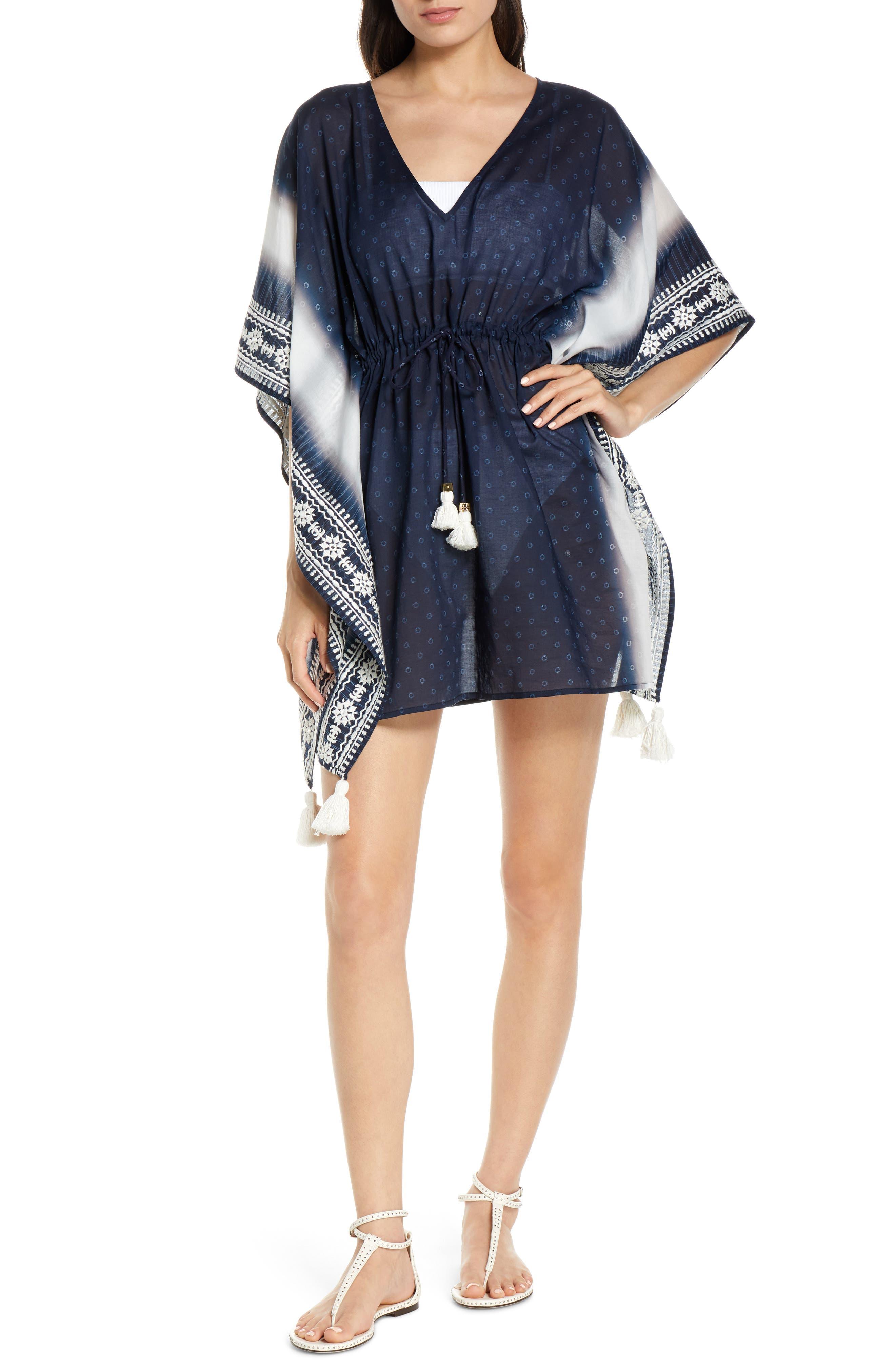 Tory Burch Ravena Shibori Stripe Cover-Up Caftan, Blue