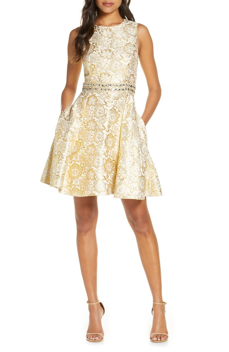 LILLY PULITZER<SUP>®</SUP> Levy Sleeveless Fit & Flare Dress, Main, color, GOLD BLOOMING FLORAL BROCADE