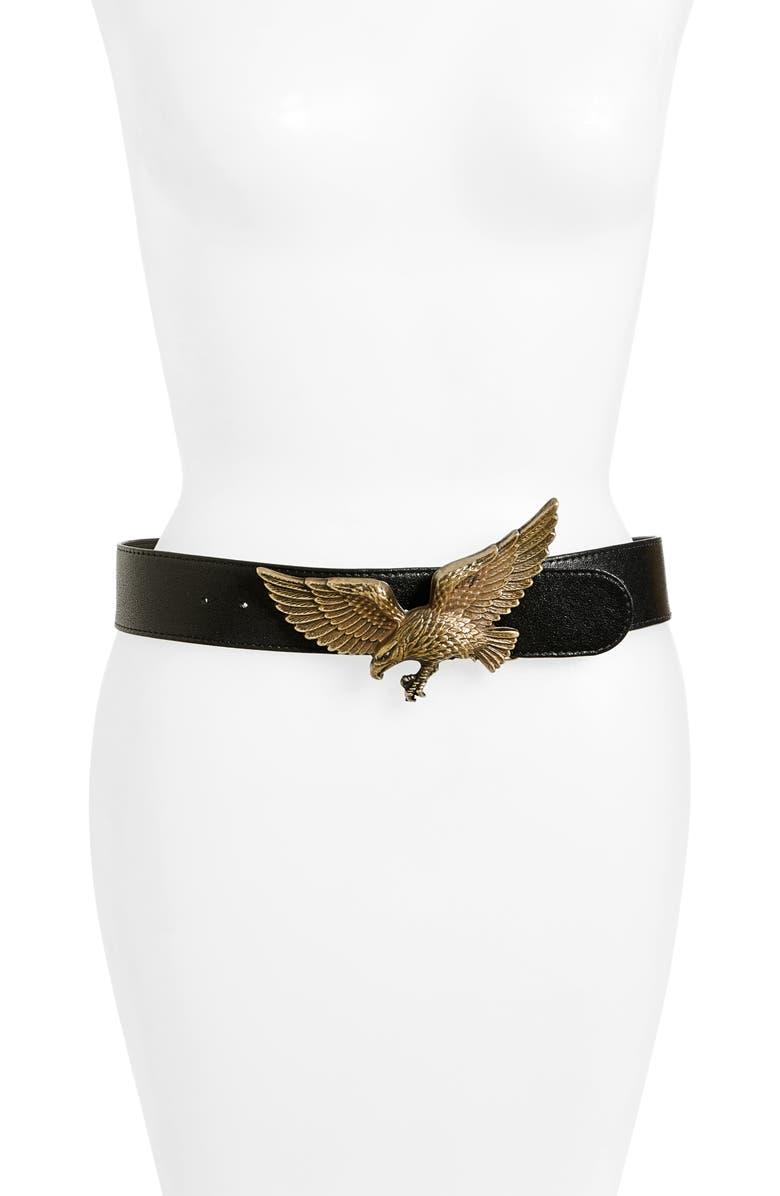 RAINA Eagle Leather Belt, Main, color, BLACK