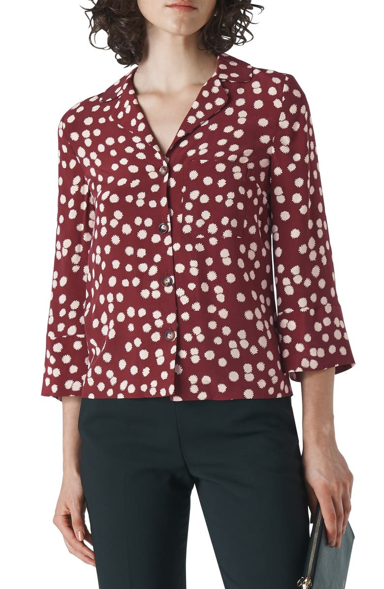 WHISTLES Illustrated Flower Camp Shirt, Main, color, BURGUNDY