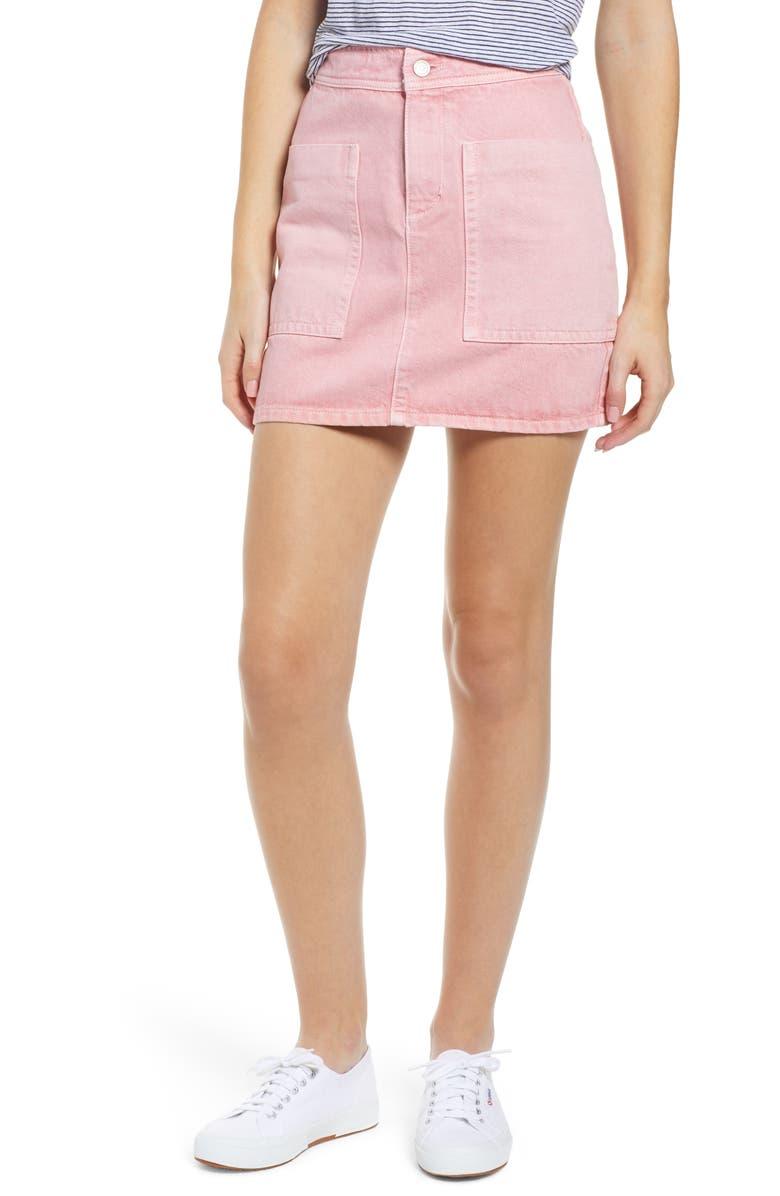 MADEWELL Rigid Denim High Waist Straight Miniskirt, Main, color, 650