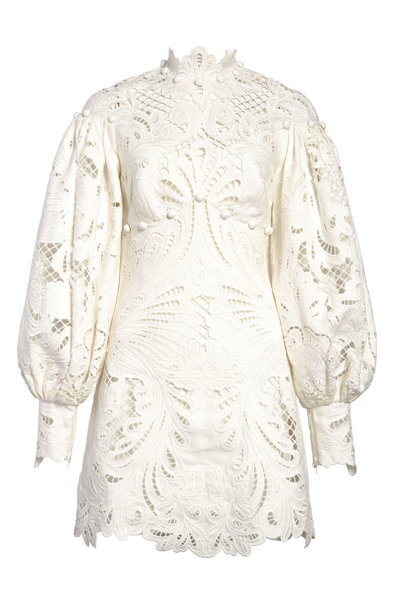 ZIMMERMANN Wavelength Ikat Broderie Anglaise Long Sleeve Minidress, Main, color, IVORY