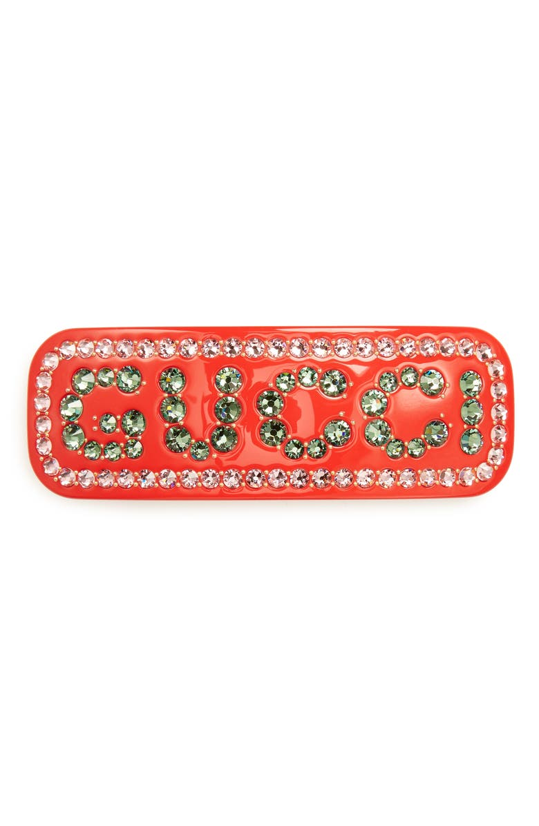 GUCCI Crystal Hair Barrette, Main, color, CRYSTAL
