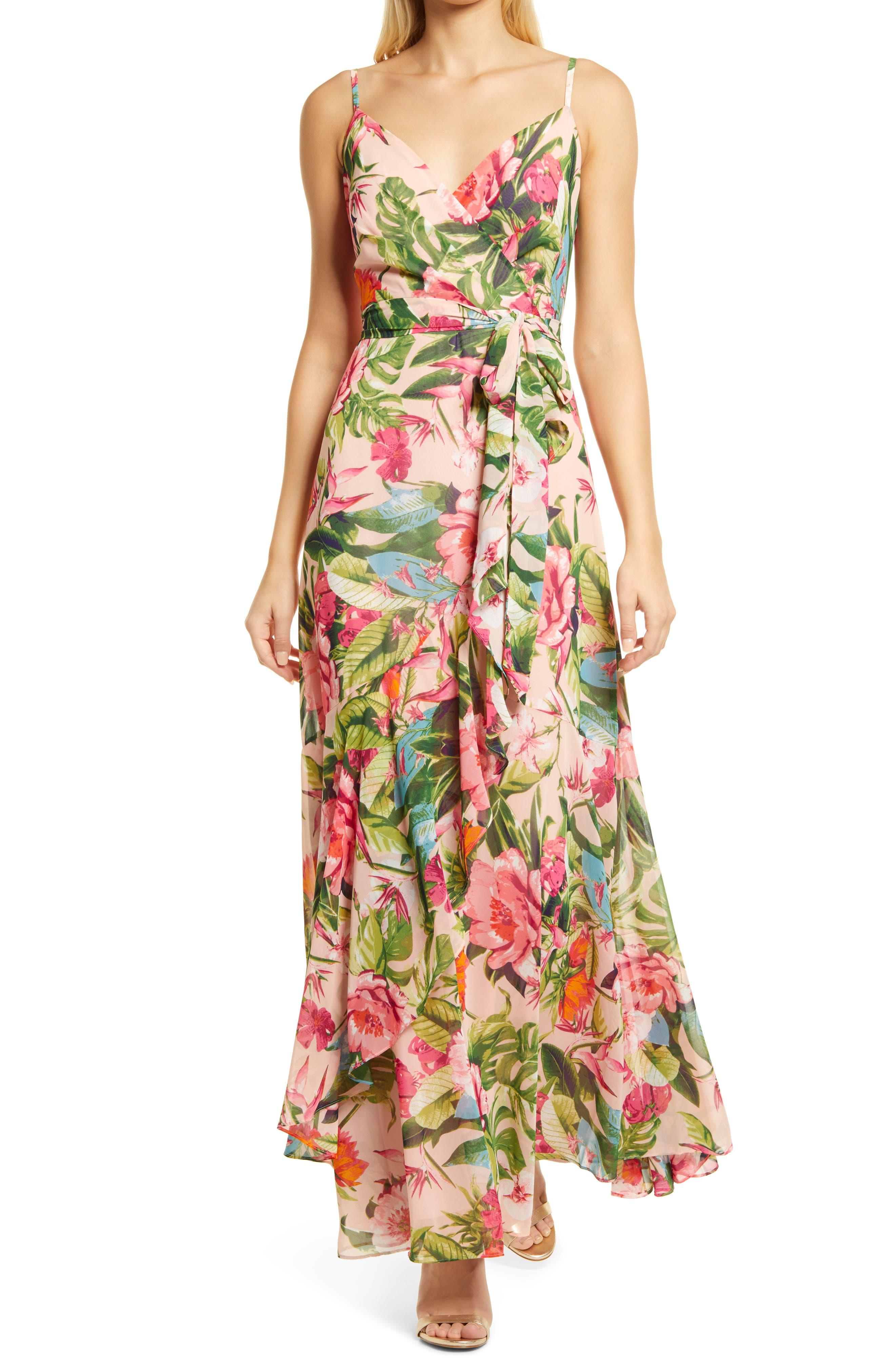 Floral Ruffle Faux Wrap Maxi Dress