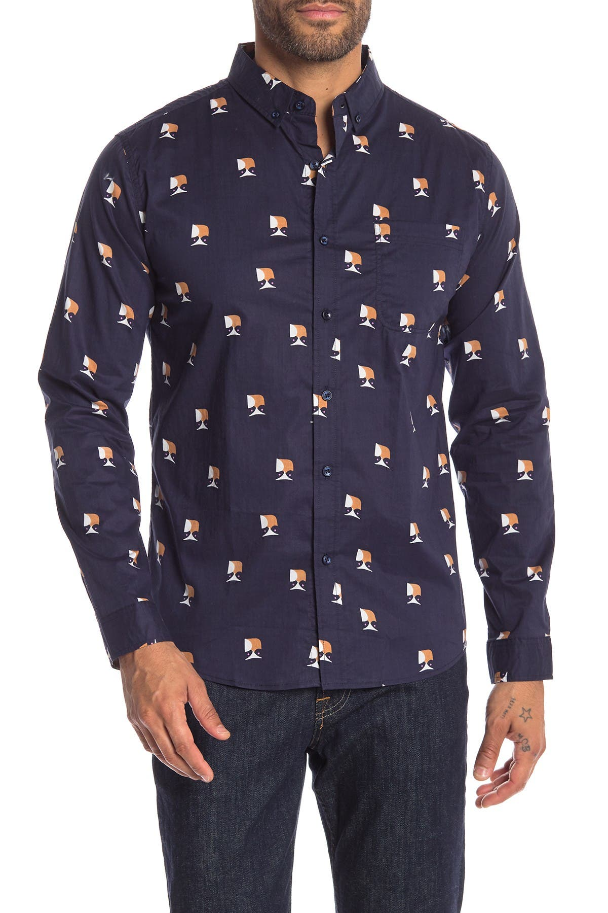 Image of Loft 604 Owl Print Regular Fit Shirt