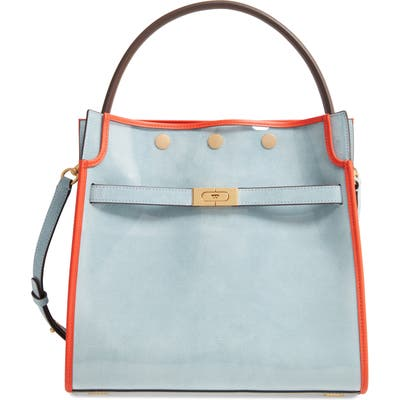Tory Burch Lee Radziwill Satchel With Raincoat Bag Cover - Blue