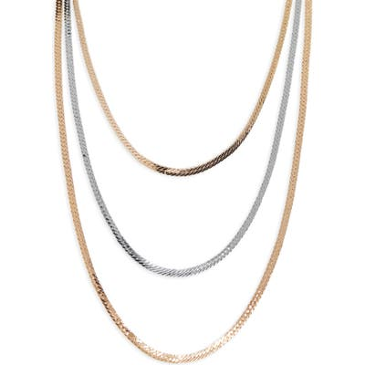 Halogen Two-Tone Layer Snake Chain Necklace