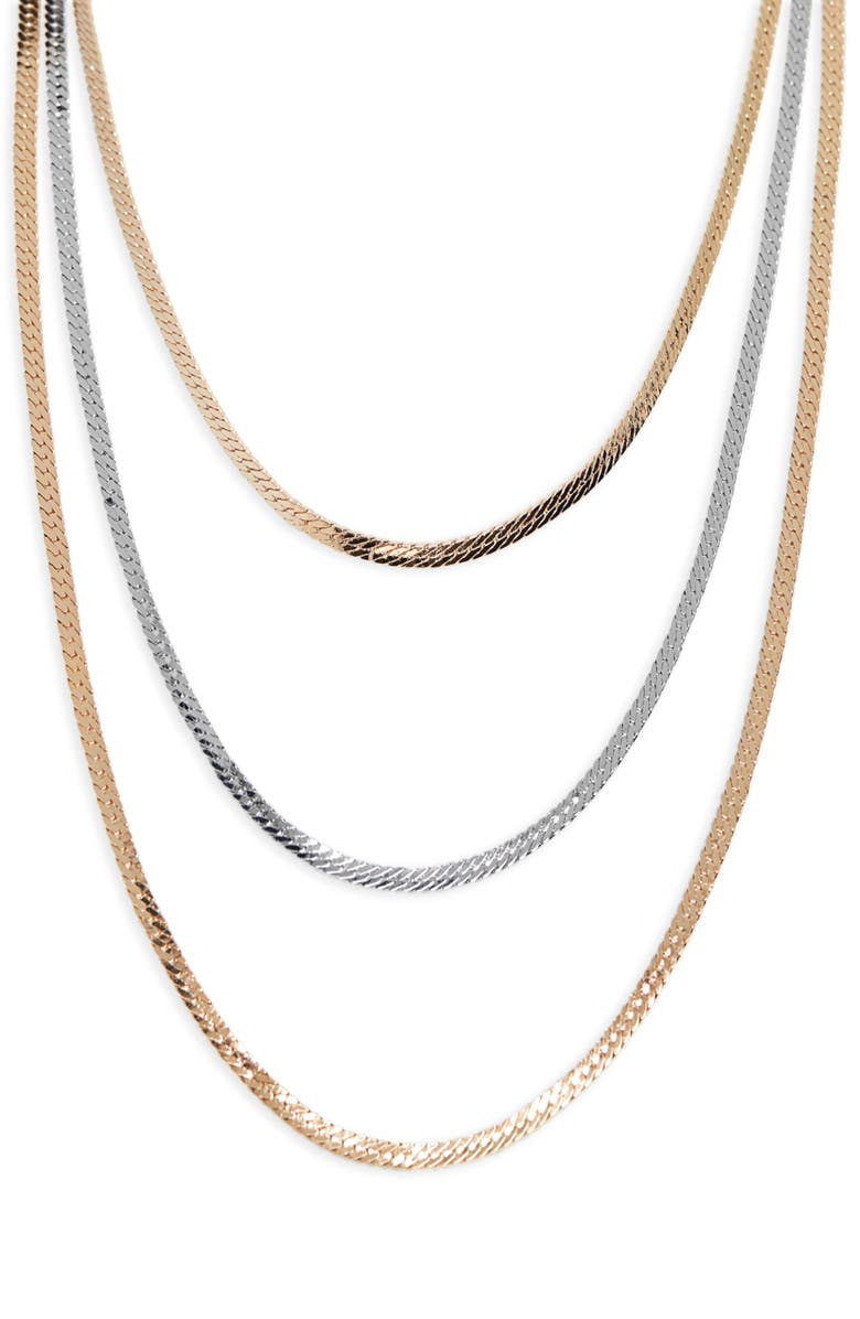 HALOGEN<SUP>®</SUP> Two-Tone Layer Snake Chain Necklace, Main, color, GOLD- RHODIUM