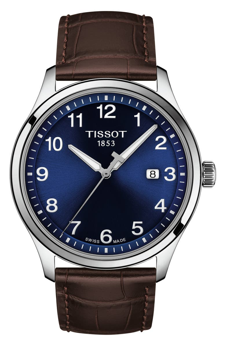 TISSOT Gent XL Classic Leather Strap Watch, 42mm, Main, color, BROWN/ BLUE/ SILVER
