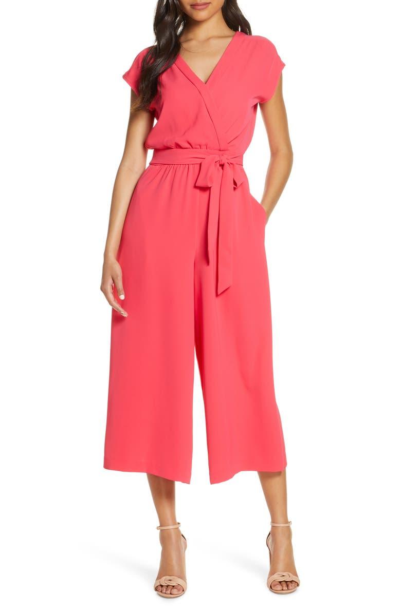 ELIZA J Faux Wrap Crop Jumpsuit, Main, color, CORAL