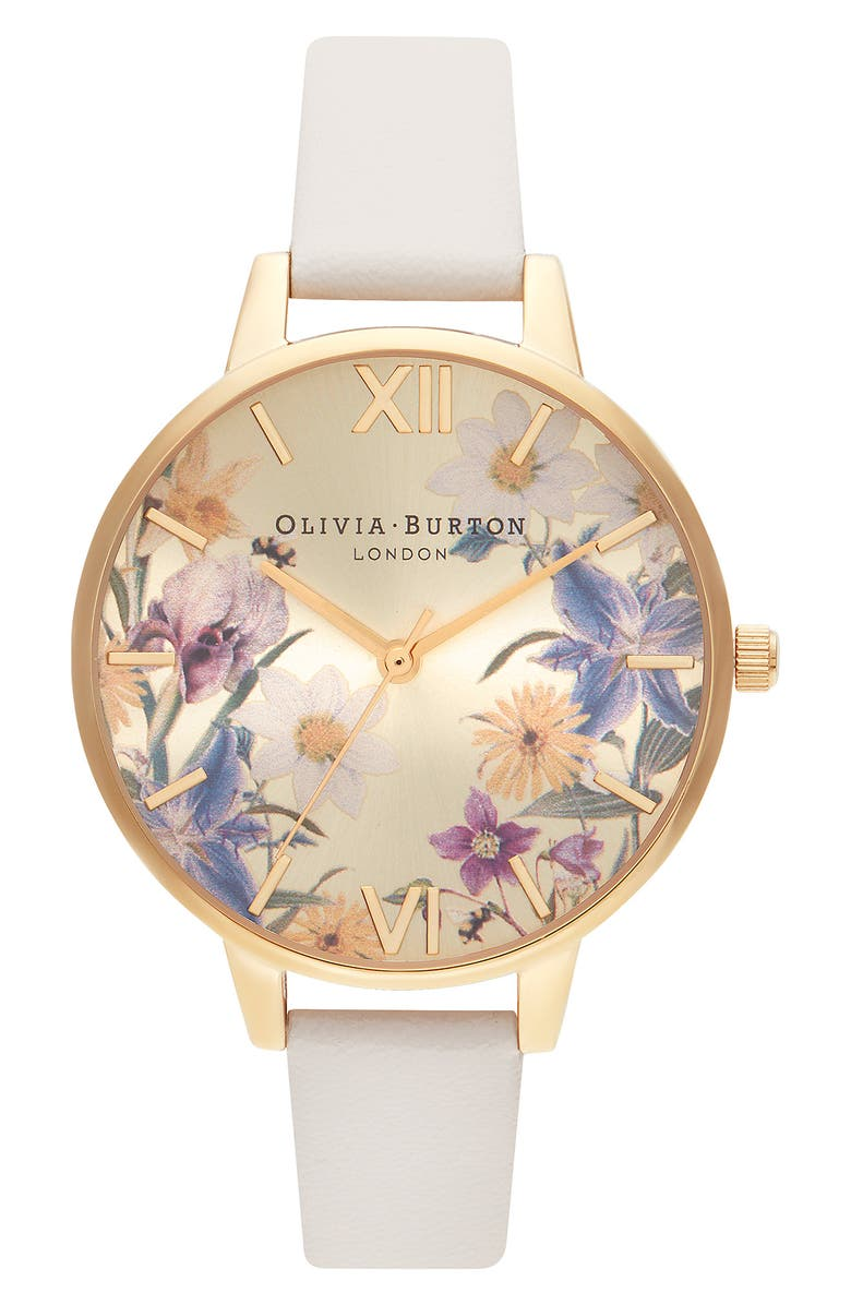 OLIVIA BURTON Best In Show Faux Leather Strap Watch, 34mm, Main, color, BEIGE/ FLORAL/ GOLD