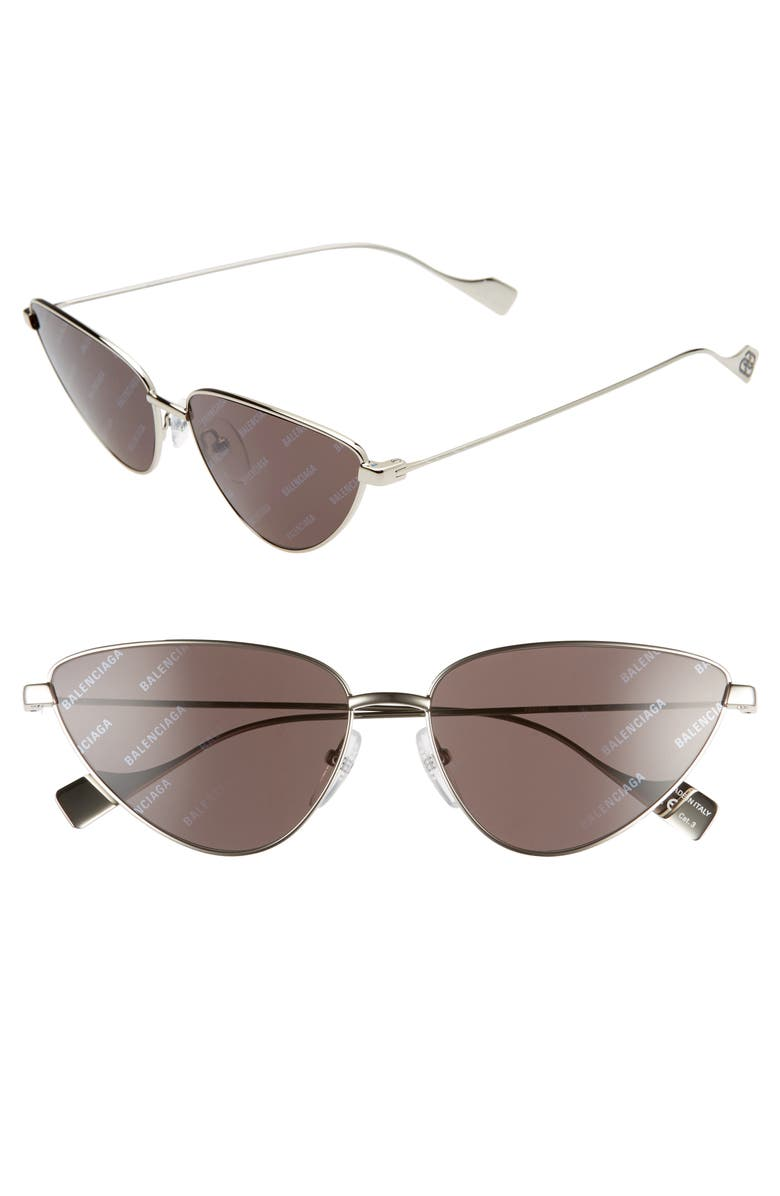 BALENCIAGA 59mm Cat Eye Sunglasses, Main, color, SILVER/ GREY