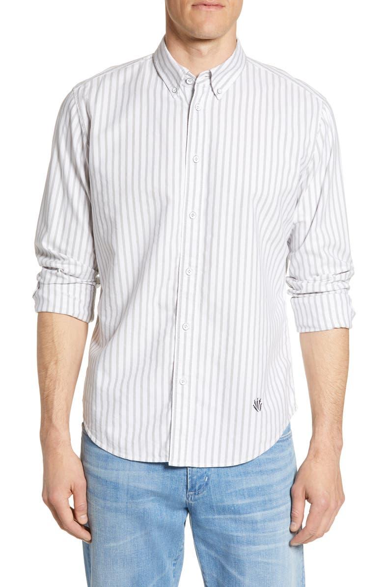 RAG & BONE Fit 2 Tomlin Slim Fit Stripe Button-Down Oxford Shirt, Main, color, GREY