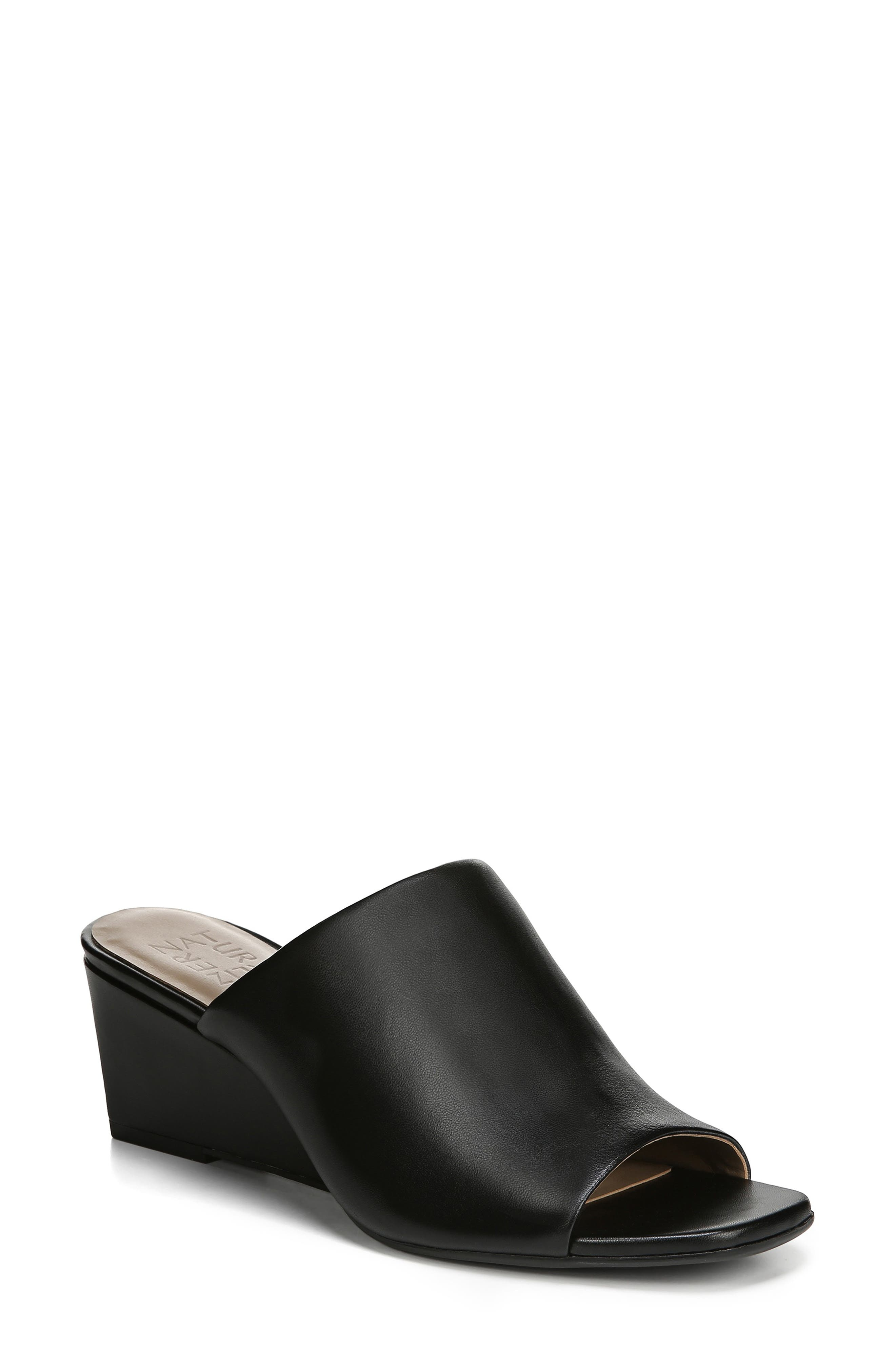 ,                             Zaya Wedge Slide Sandal,                             Main thumbnail 1, color,                             BLACK LEATHER