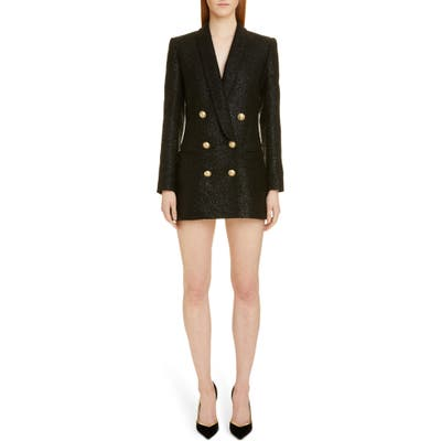 Balmain Double Breasted Tweed Blazer Dress, Black