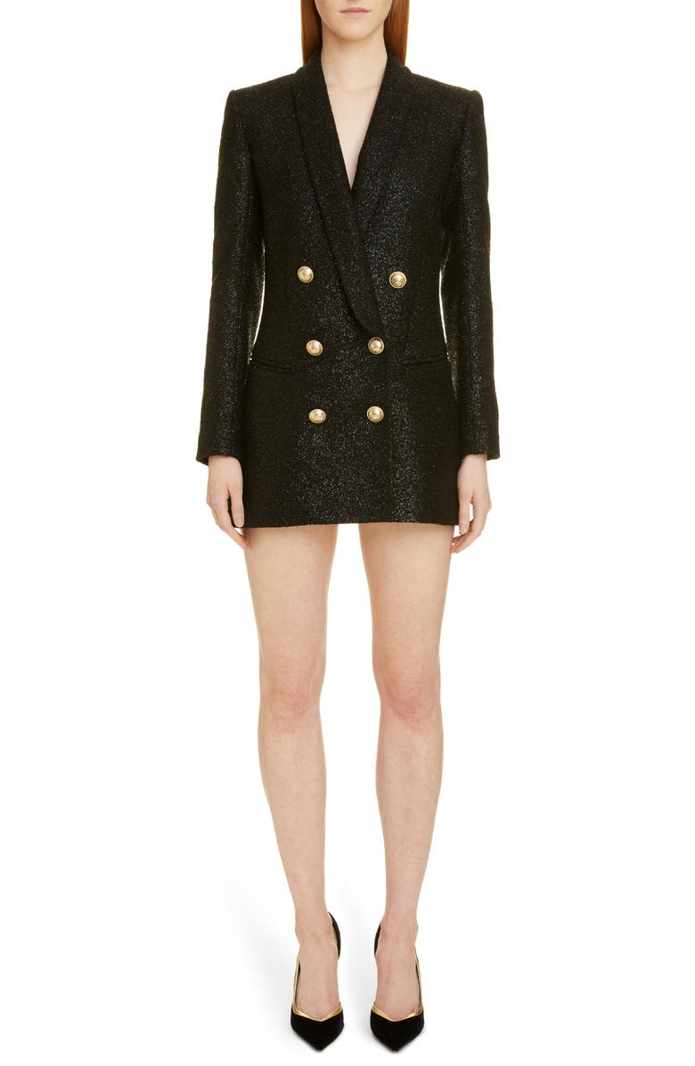 BALMAIN Double Breasted Tweed Blazer Dress, Main, color, 0PA NOIR
