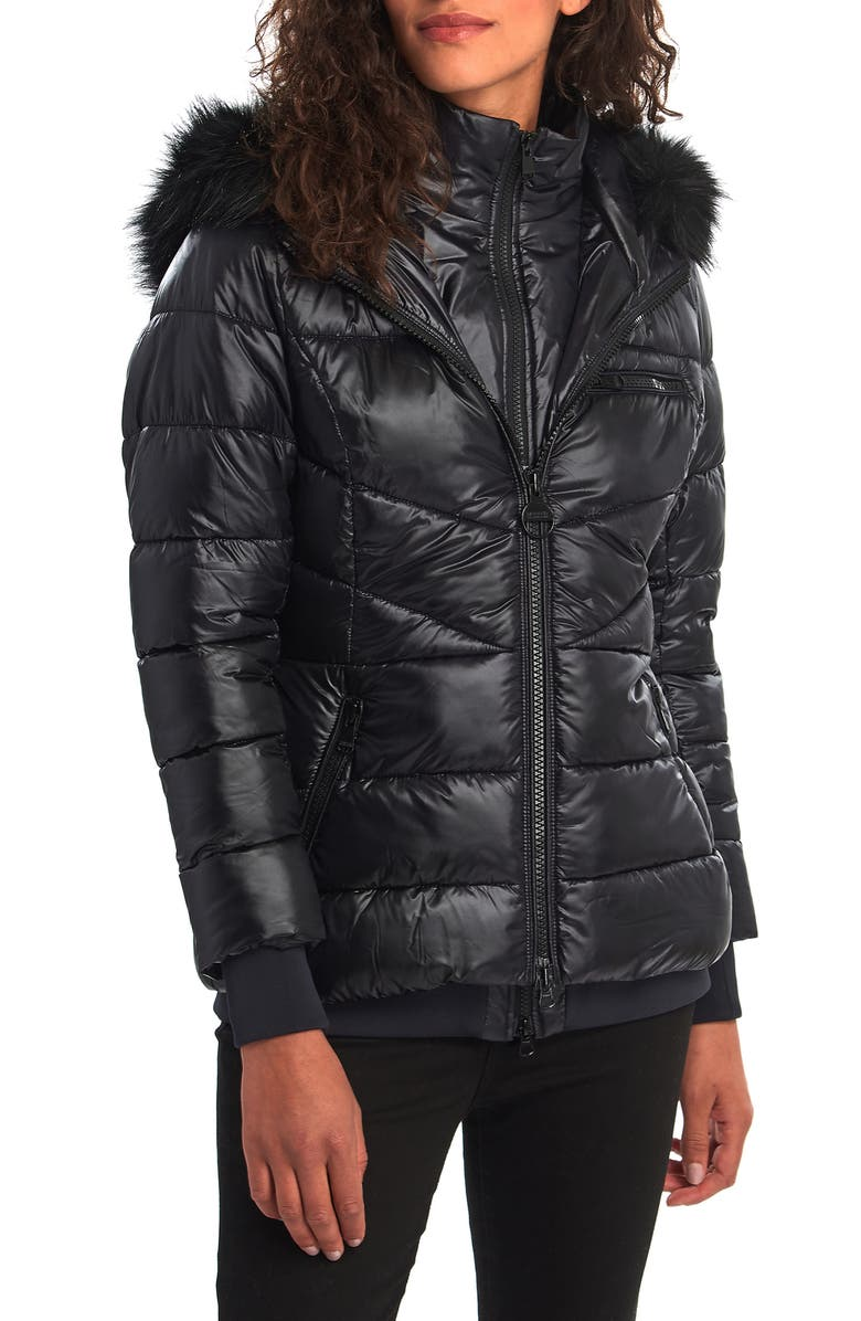 BARBOUR Strike Puffer Coat with Removable Faux Fur Trimmed Hood, Main, color, BLACK
