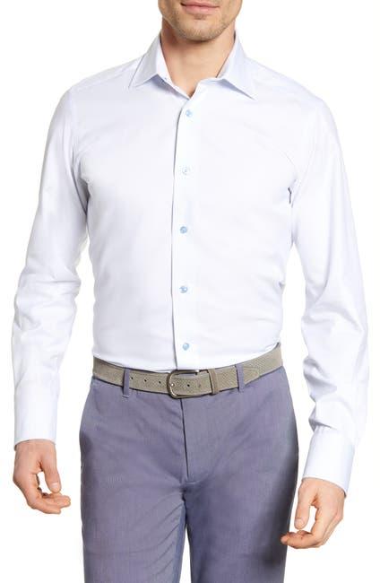 Image of David Donahue Grid Print Trim Fit Dress Shirt