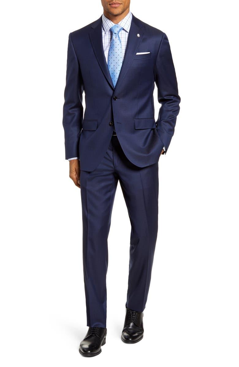 TED BAKER LONDON Jay Trim Fit Dot Wool Suit, Main, color, BLUE