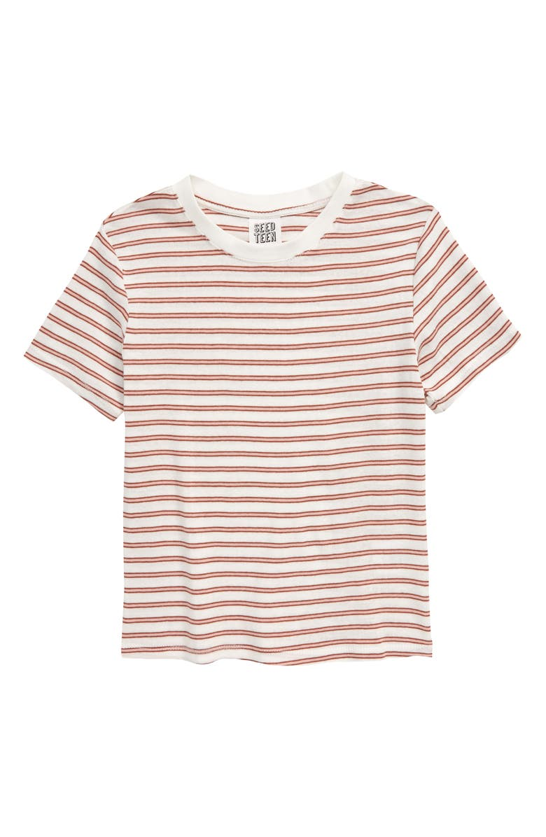 SEED HERITAGE Stripe T-Shirt, Main, color, CLAY PINK