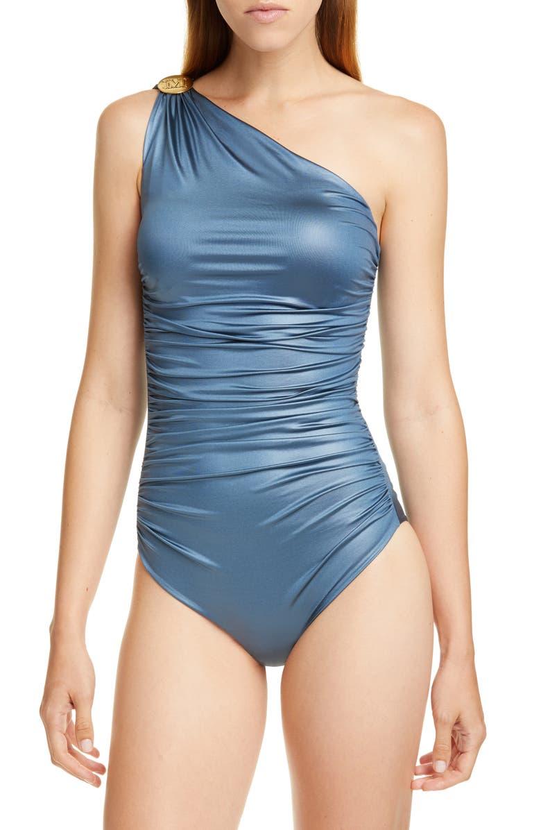 MAX MARA Bimba One-Shoulder Swimsuit, Main, color, 421