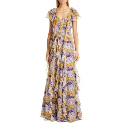 Flor Et. Al Valles Floral Silk Chiffon Gown, Purple