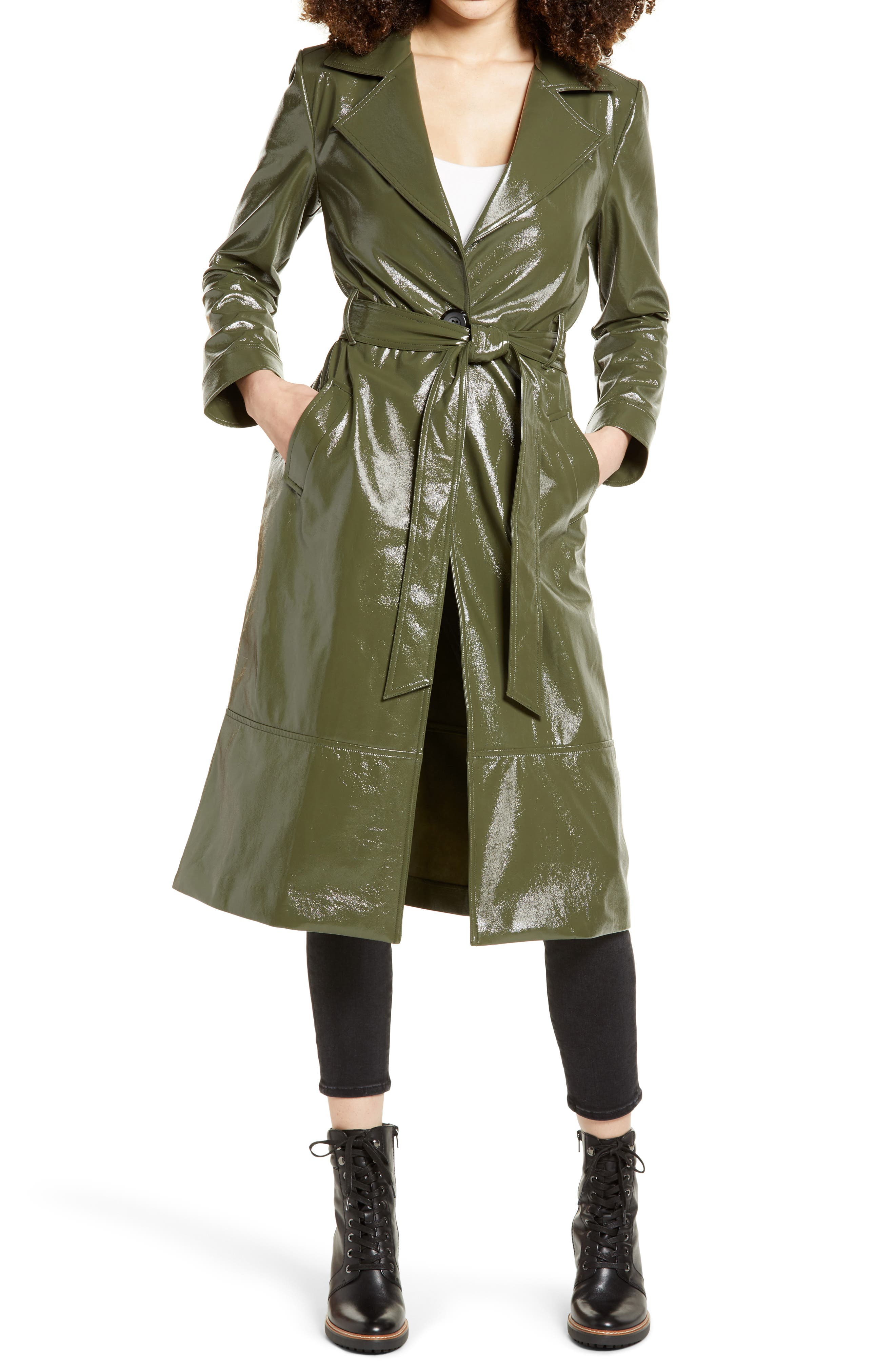 Step out in the vintage glow of a faux patent leather trench coat that might be solely responsible for bringing the term \\\