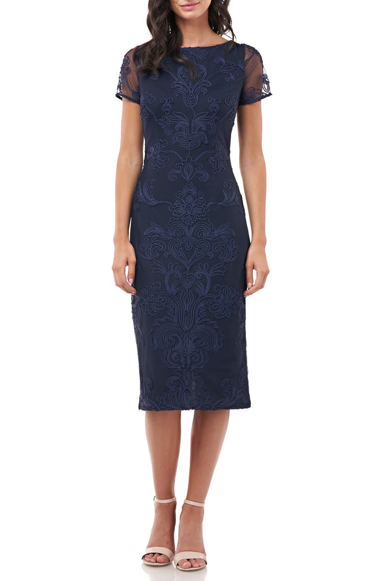 JS COLLECTIONS Soutache Embroidered Cocktail Dress, Main, color, NAVY