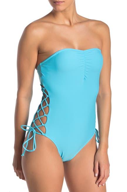 Image of Rachel Rachel Roy Lace-Up Strapless One-Piece Swimsuit