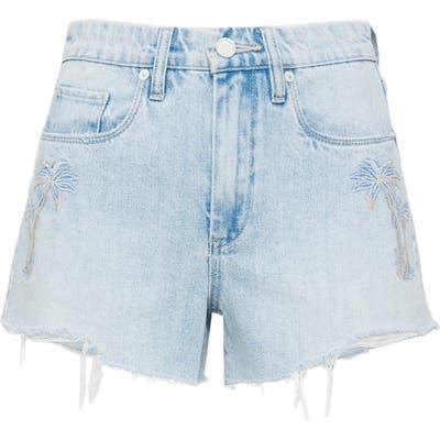 Blanknyc Palm Tree Embroidered High Waist Denim Shorts, Blue