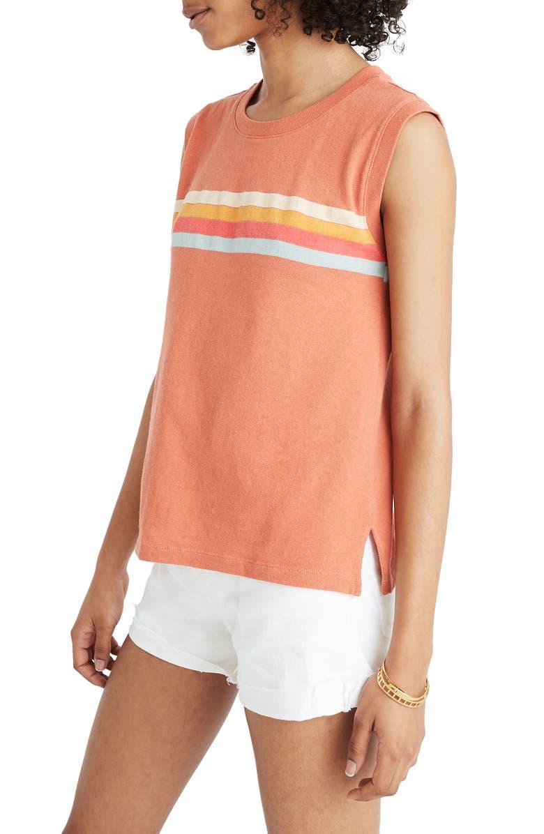 MADEWELL Stripe Ex-Boyfriend Muscle Tank Top, Main, color, SWEET DAHLIA ARRAN STRIPE