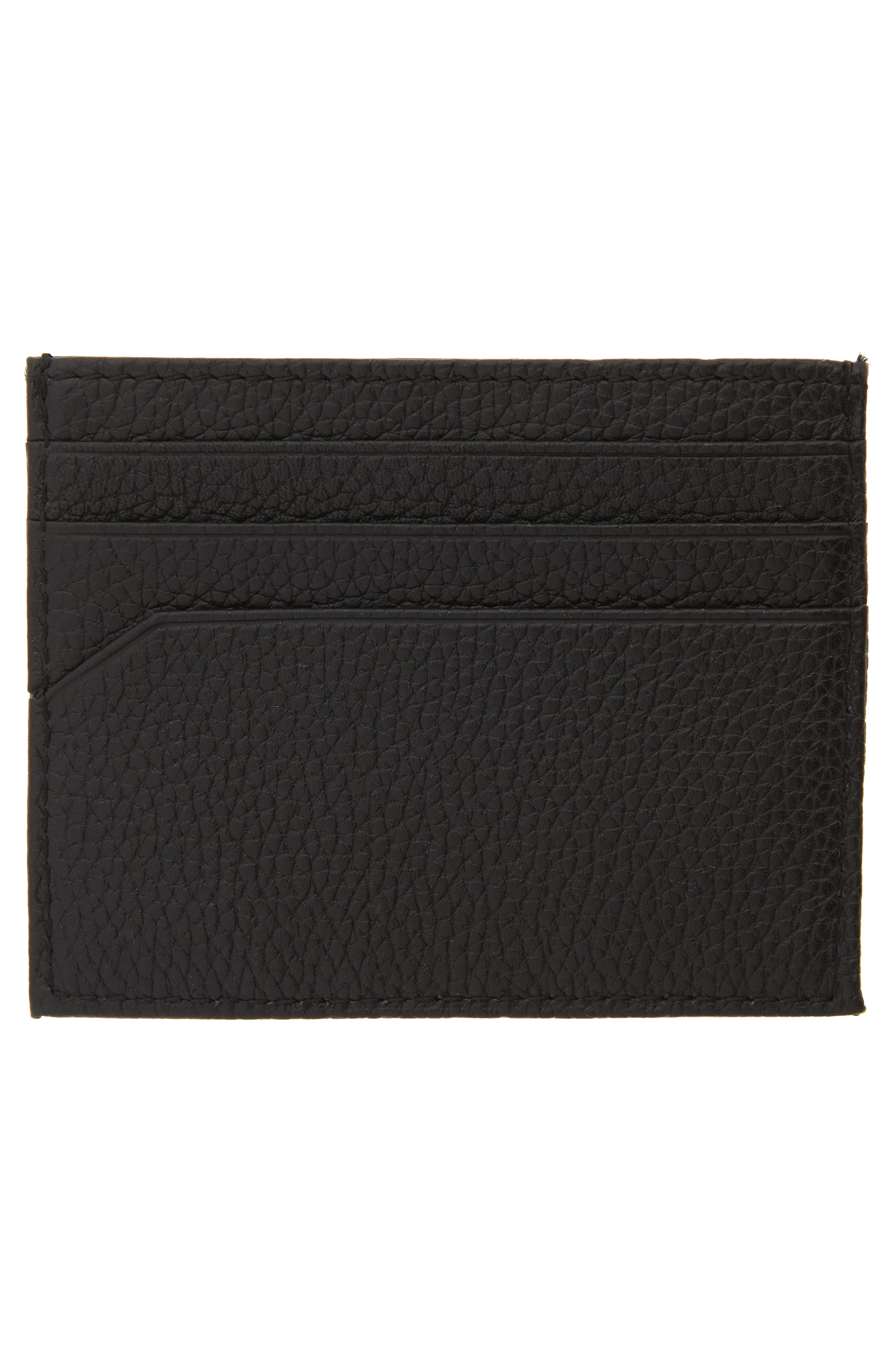 ,                             Giuliah Leather Card Holder,                             Alternate thumbnail 2, color,                             BLACK