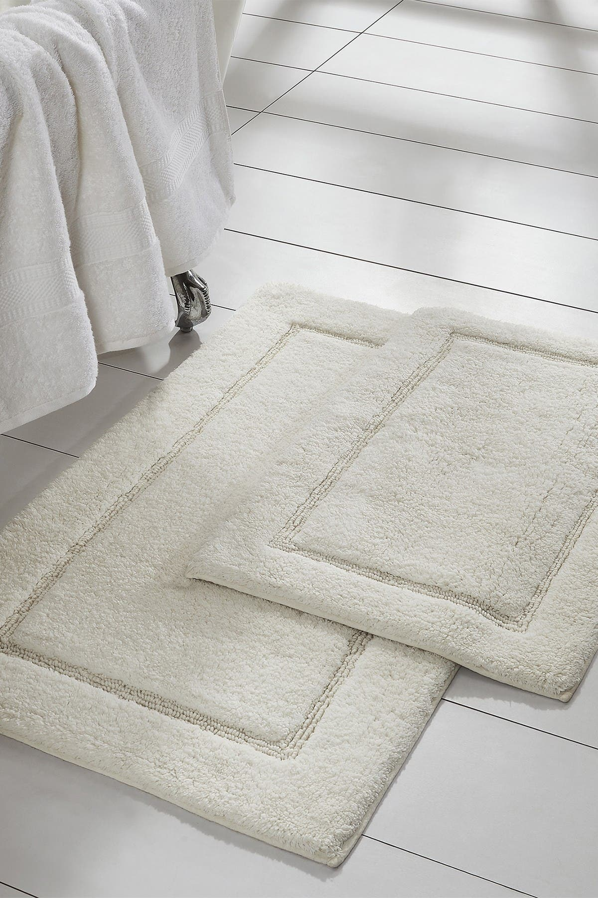Image of Modern Threads White Solid Loop Non-Slip Bath Mat 2-Piece Set