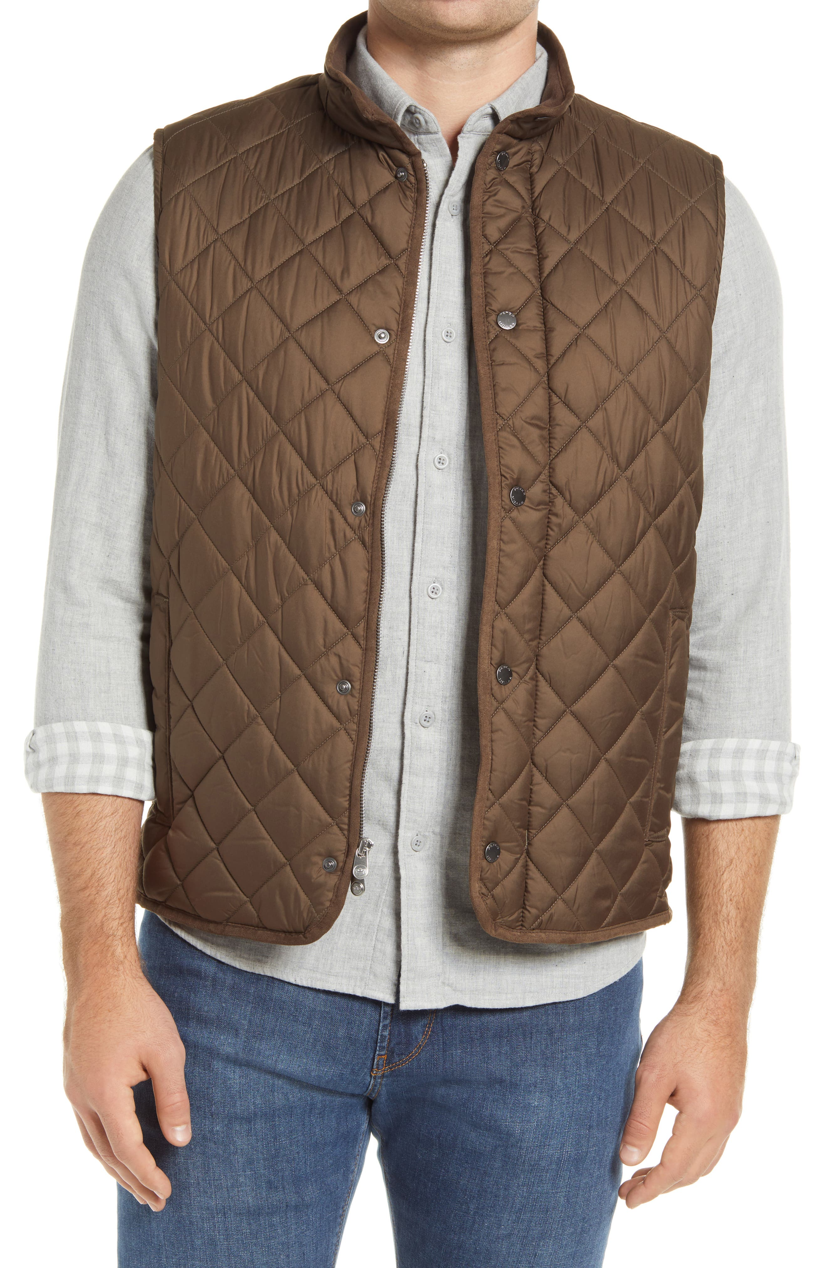 Infused with wax polymers, the diamond-quilted fabrication of this lightweight vest takes on windproof and water-resistant properties to keep you protected and the game continuing. Style Name: Peter Millar Essex Quilted Vest. Style Number: 5332650. Available in stores.