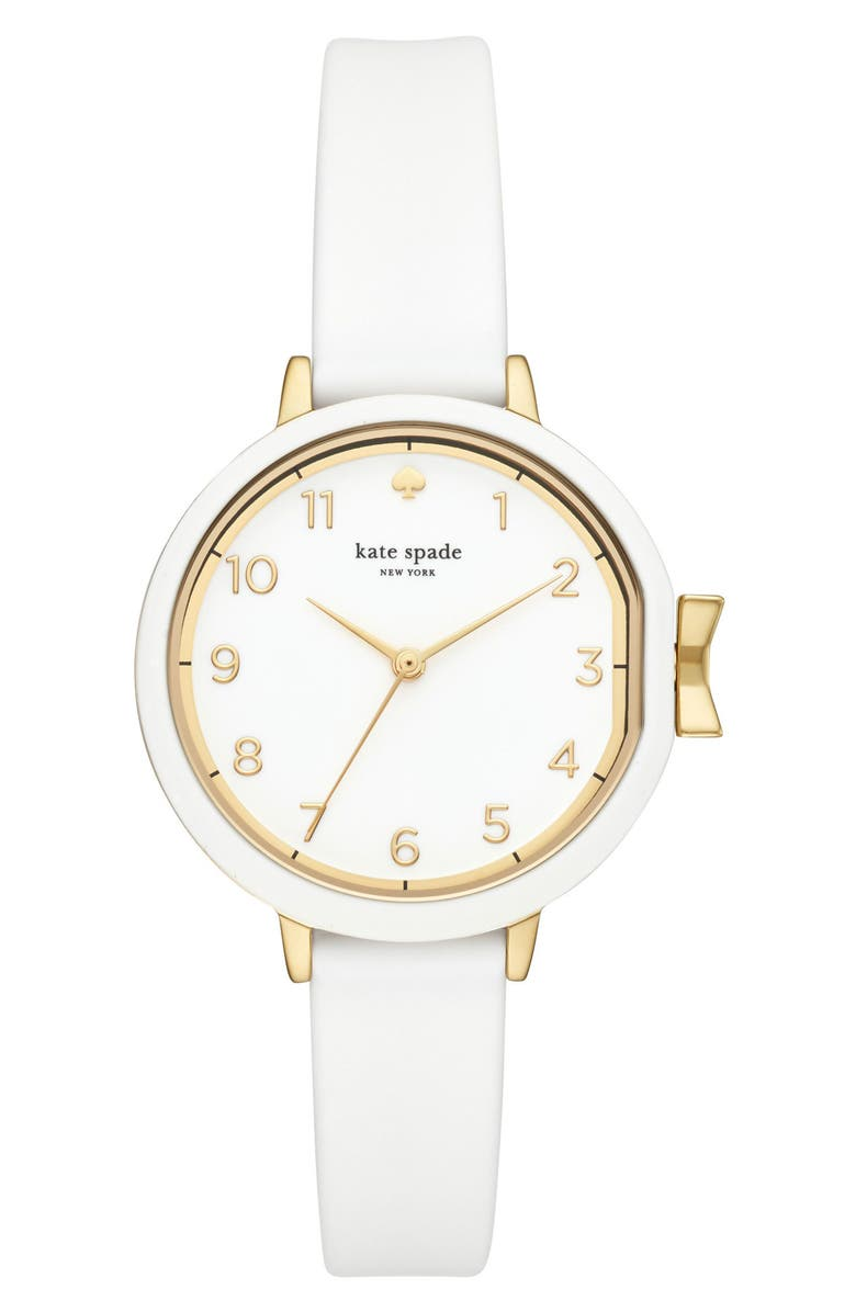 KATE SPADE NEW YORK park row silicone strap watch, 34mm, Main, color, WHITE/ GOLD