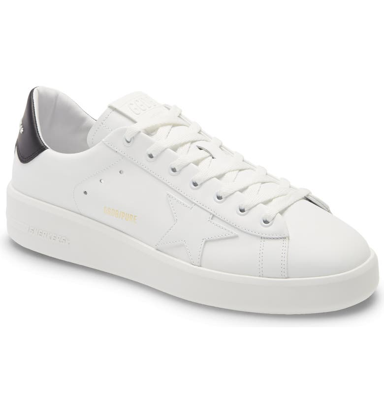 GOLDEN GOOSE PURESTAR Low Top Sneaker, Main, color, WHITE LEATHER/ BLACK HEEL