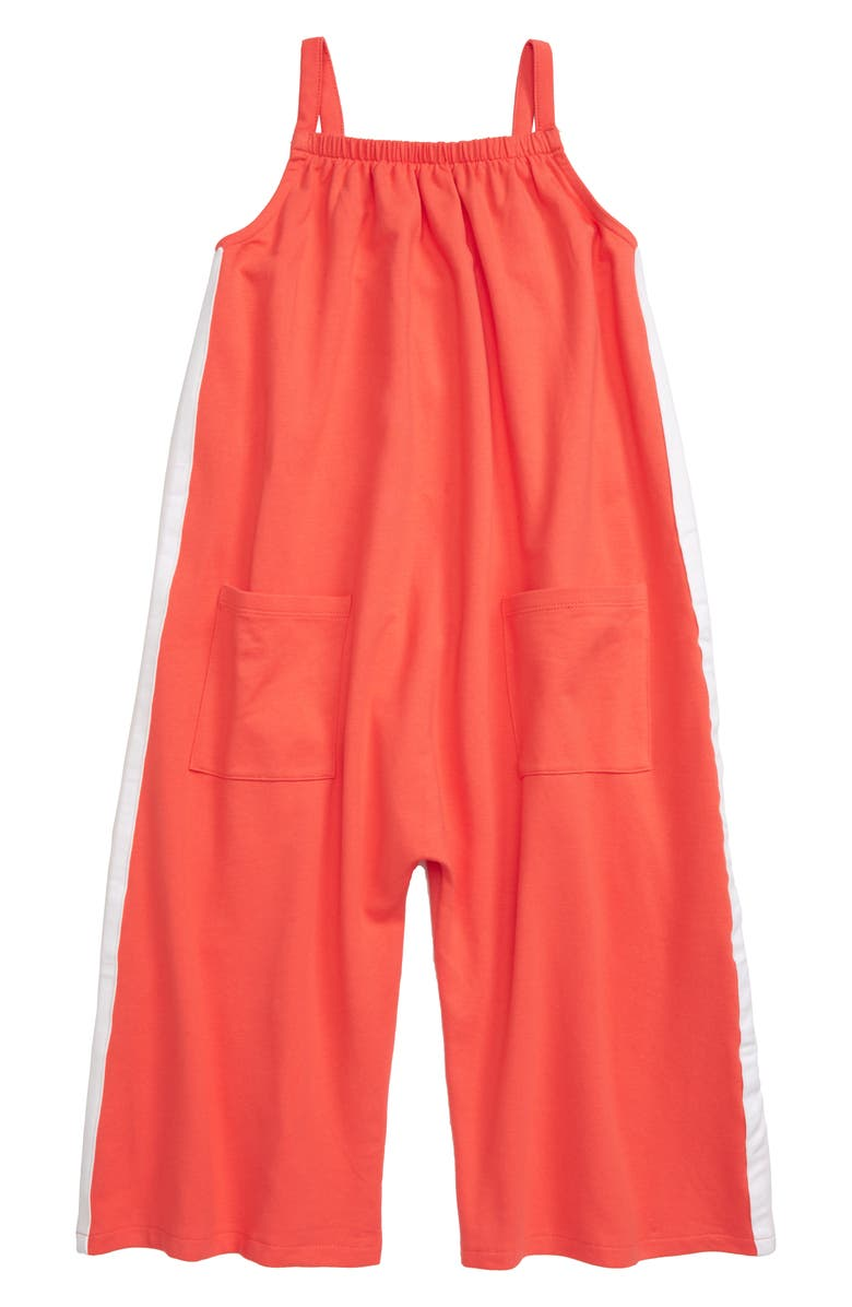 STEM Side Stripe Stretch Cotton Jumpsuit, Main, color, CORAL HOT
